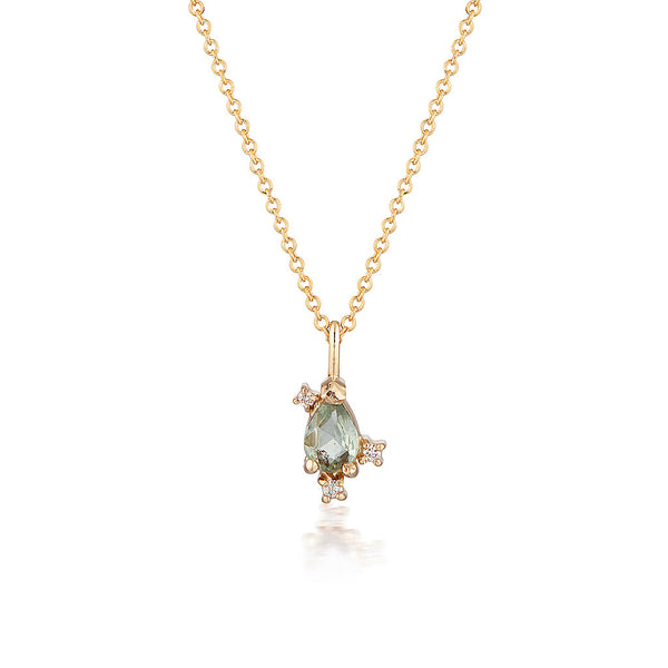 Adeline necklace II | green sapphire & extra diamonds - Limited Edition