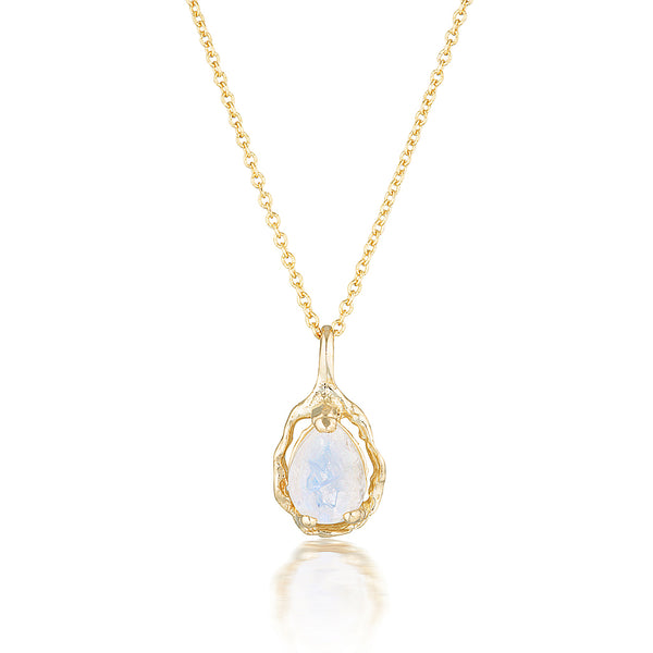 Pear Halo necklace II | Moonstone