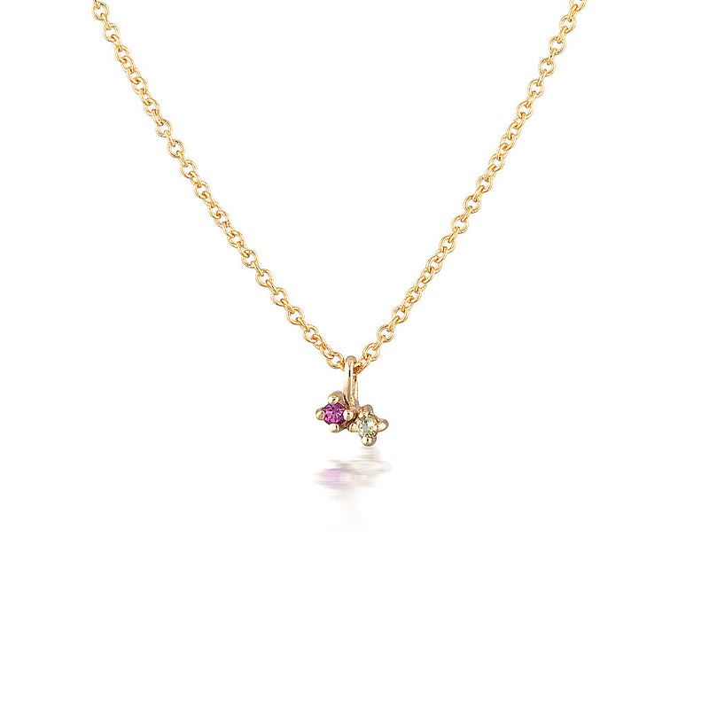 Twin Birthstone necklace II