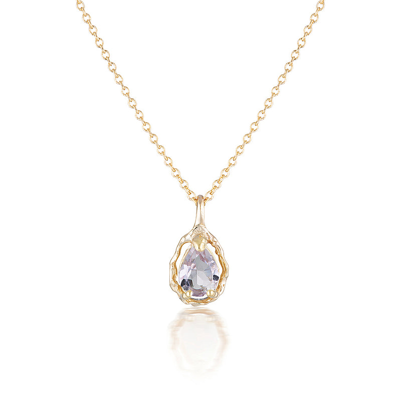 Pear Halo necklace II | Pink Amethyst