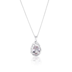 Pear Halo necklace | Pink Amethyst