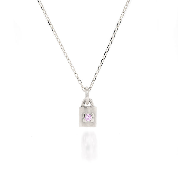 Mini Padlock Necklace - birthstone