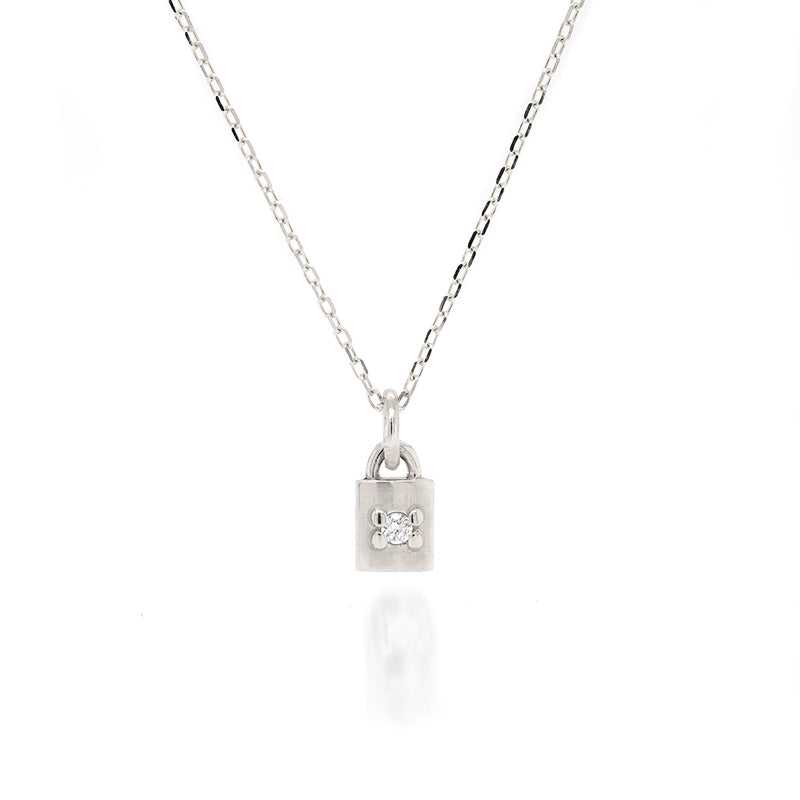 Mini Padlock Necklace - diamond