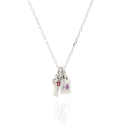 Mini Key & Padlock Necklace - birthstone