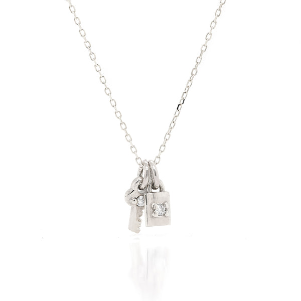 Mini Key & Padlock Necklace - diamond