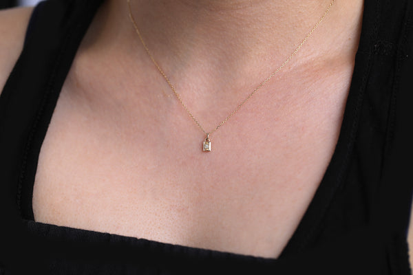 Mini Padlock Necklace II - diamond