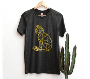 gold cat print t-shirt