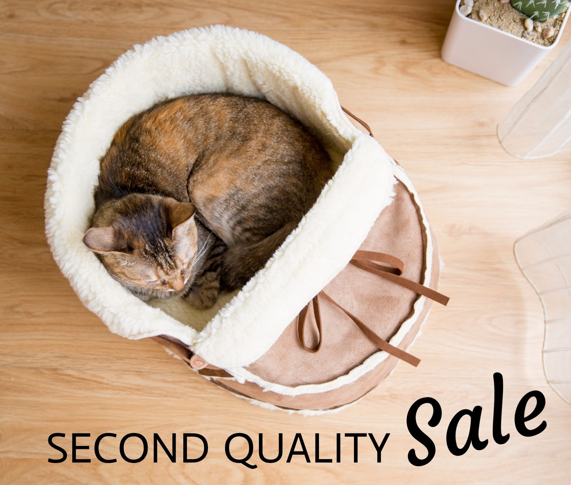 """Second quality SALE"" Sherpa Moccasin Cat Bed in Mocha Suede"