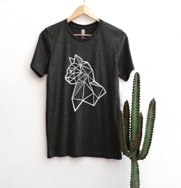 hanging dark grey tee with silver cat print on it
