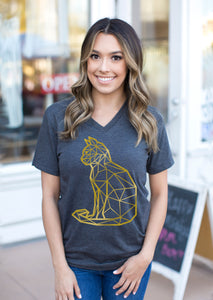 v neck tee with gold cat print
