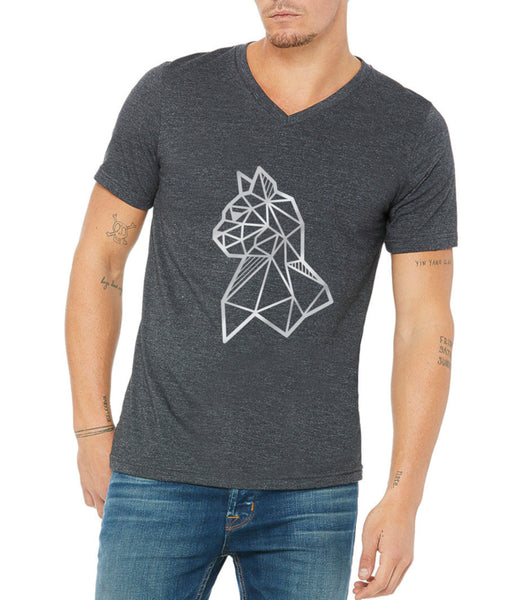 silver cat print on v neck tee