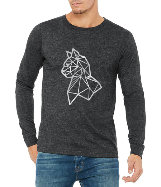 silver cat illustration on long sleeve t shirt