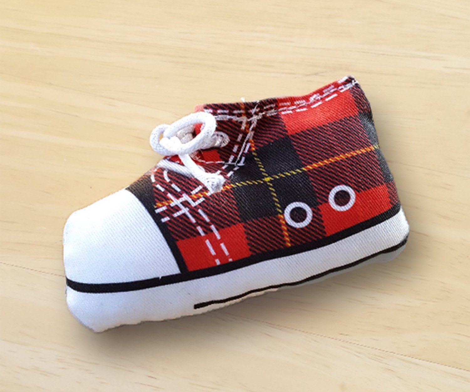 Sneaker Cat Toy in Black and Red Tartan