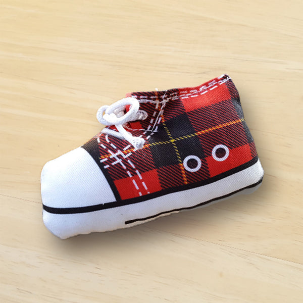 black and red tartan sneaker catnip toy