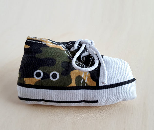 Catnip shoe cat toy in camouflage