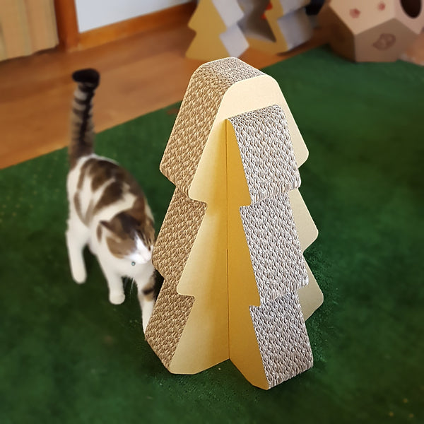 Cat walking toward the Cardboard Standing Scratcher Tree