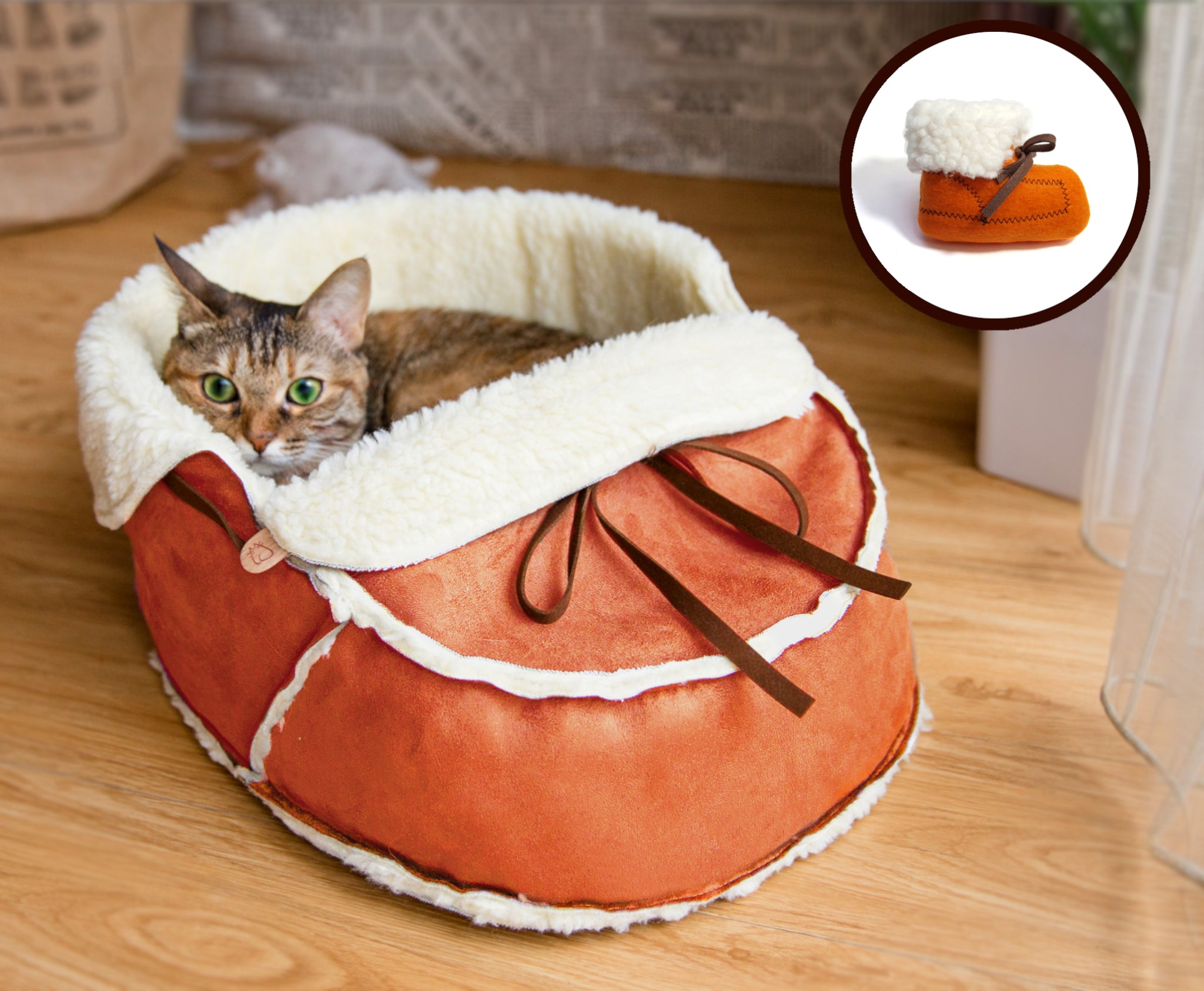 orange moccasin bed and a matching catnip toy gift set