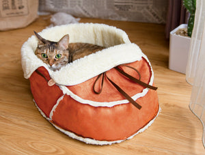 orange moccasin pet bed