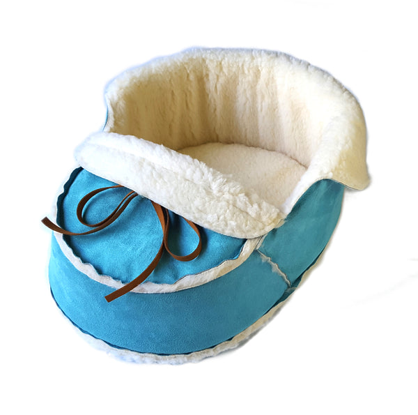 sherpa moccasin pet bed in teal suede