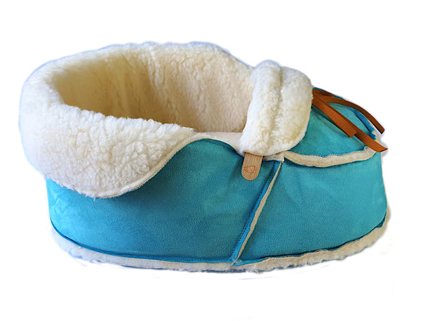 teal moccasin cat bed side view