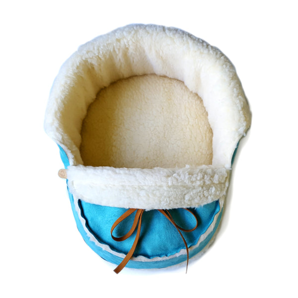 teal moccasin cat bed top view