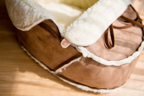 Moccasin Bed in Mocha close-up shot