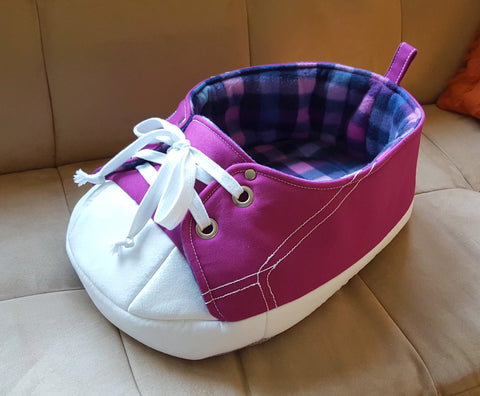 Purple Sneaker Pet Bed with Pink and Blue Tartan Fleece