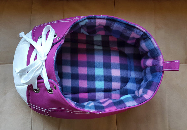 Top View of Purple Sneaker Pet Bed to see the zoomy interior
