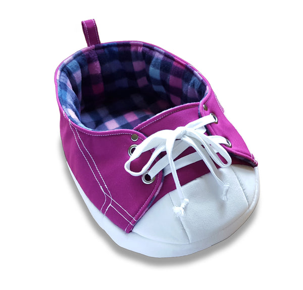 Vibrant Purple Sneaker Pet Bed with White Background