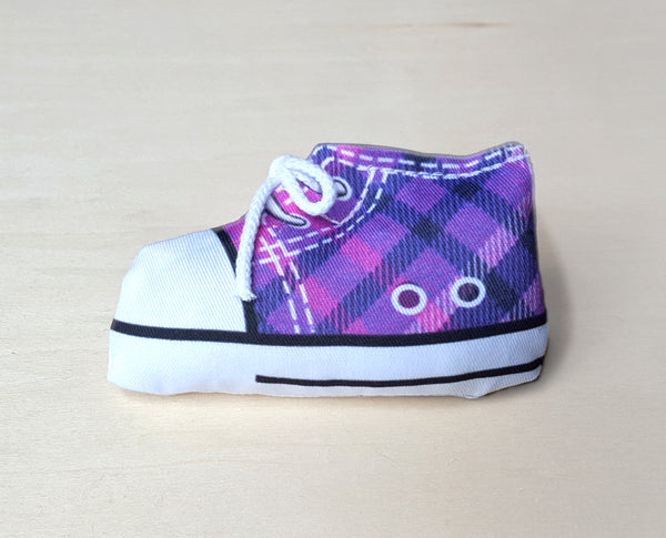 purple sneaker catnip toy