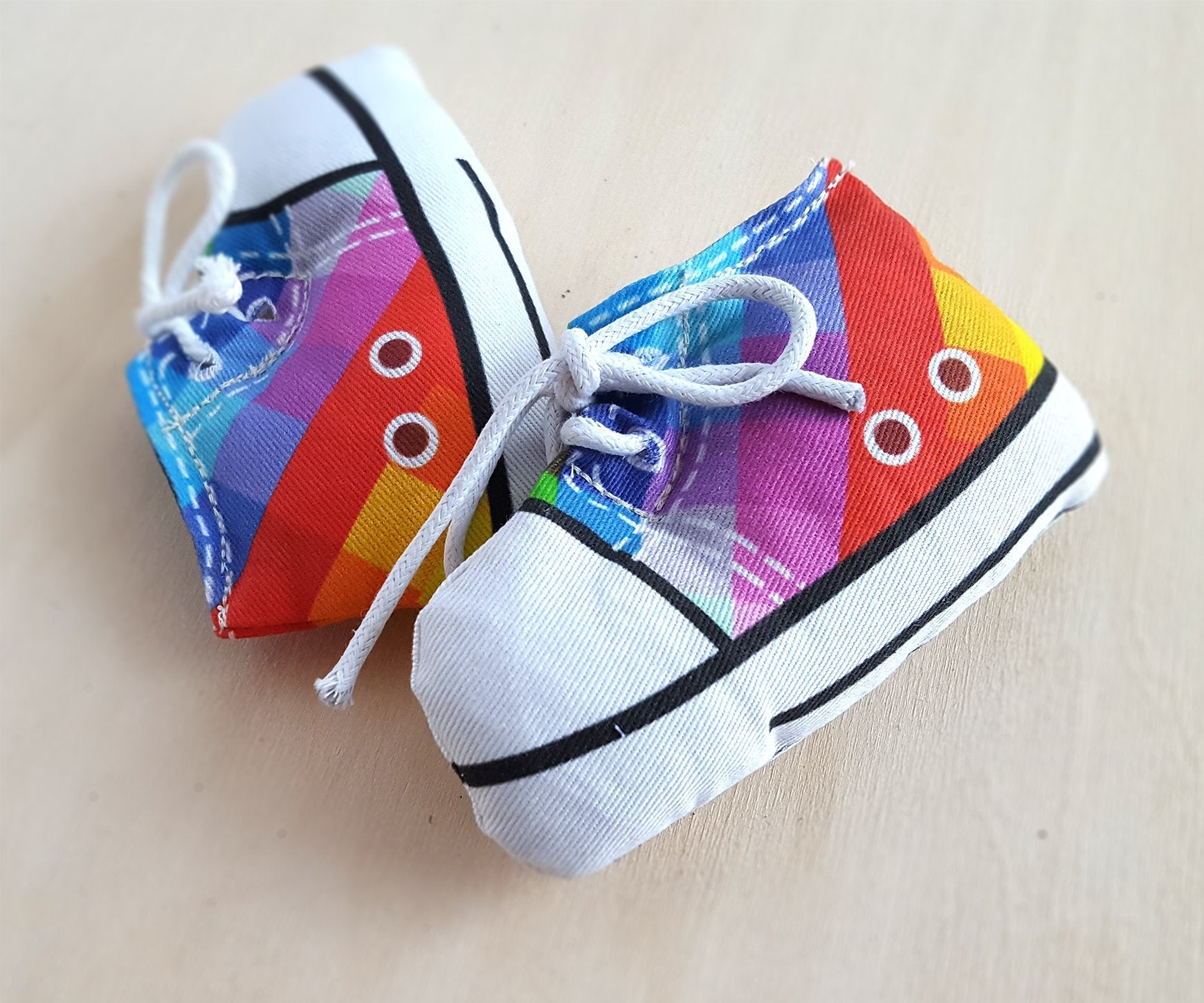 Sneaker Cat Toy in Rainbow Tartan