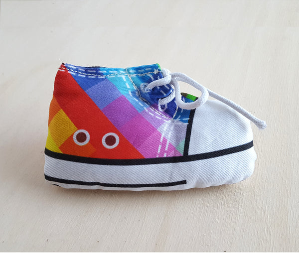 Rainbow Sneaker Cat Bed with A Matching Catnip Toy Gift Set