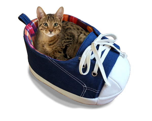 Sneaker Cat Bed with Rainbow Fleece