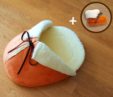 Orange Slipper Cat Bed with A Matching Catnip Toy; Made in USA