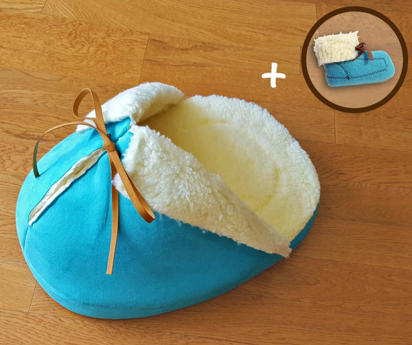 Blue Slipper Cat Bed with a Matching Catnip Toy Gift Set; Made in the USA