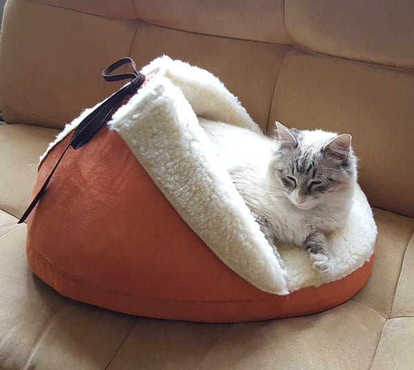 Slipper Pet Bed side view with a cat in it