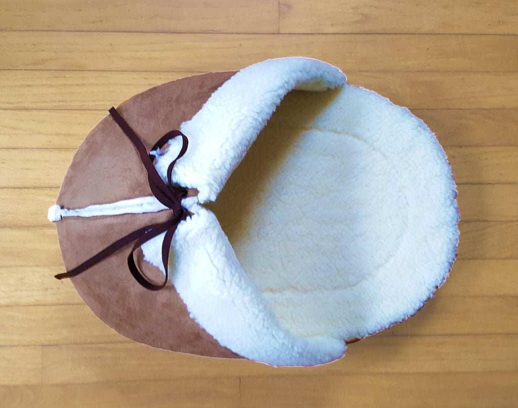 71005ce56361 Giant Slipper Cat Bed in Mocha Faux Suede and Faux Sherpa – Napping JoJo