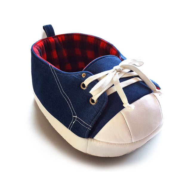 Sneaker Bed in Black and Red Tartan in white background