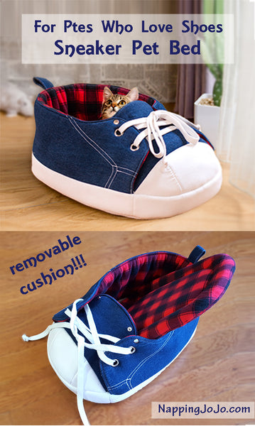 Multiple images of Sneaker Bed in Black and Red Tartan