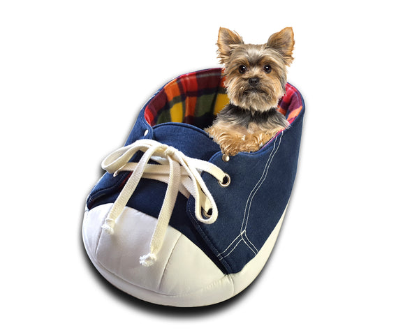 Sneaker Bed in Rainbow Tartan with a dog in it