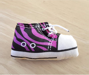 Sneaker Catnip Toy in purple zebra