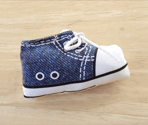 Sneaker Catnip Toy in Blue Denim