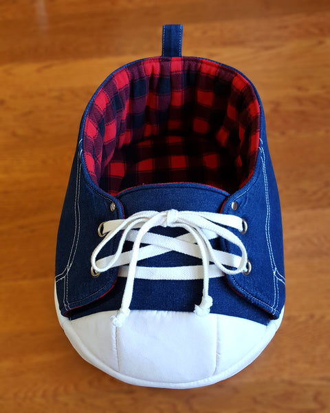 blue denim sneaker cat bed in black and red tartan fleece interior