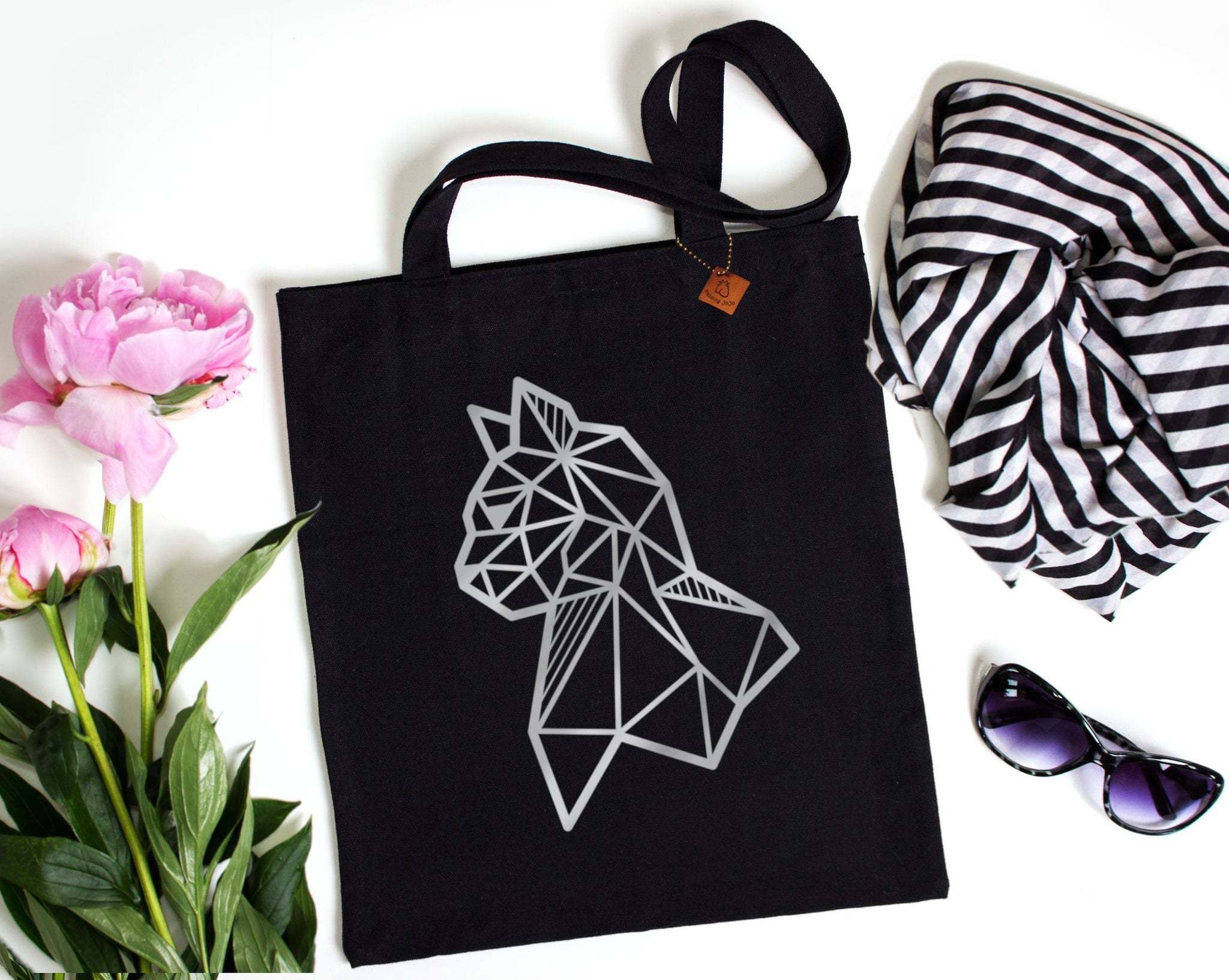 black tote bag with silver cat print