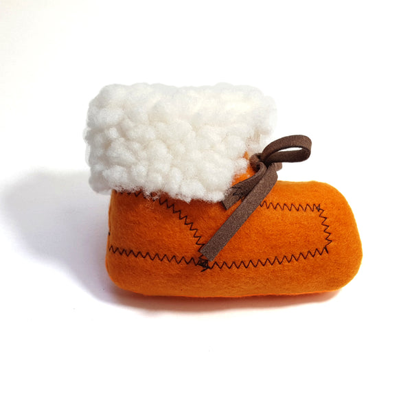 orange moccasin catnip toy