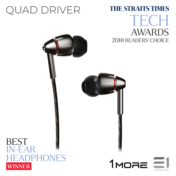 1More, 1More (E1010) Quad Driver IN-EAR HEADPHONES - E1 Personal Audio Singapore