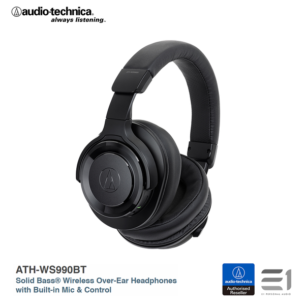 Audio-Technica, ATH-WS990BT Solid Bass® Wireless Over-Ear Headphones with Built-in Mic & Control - E1 Personal Audio Singapore
