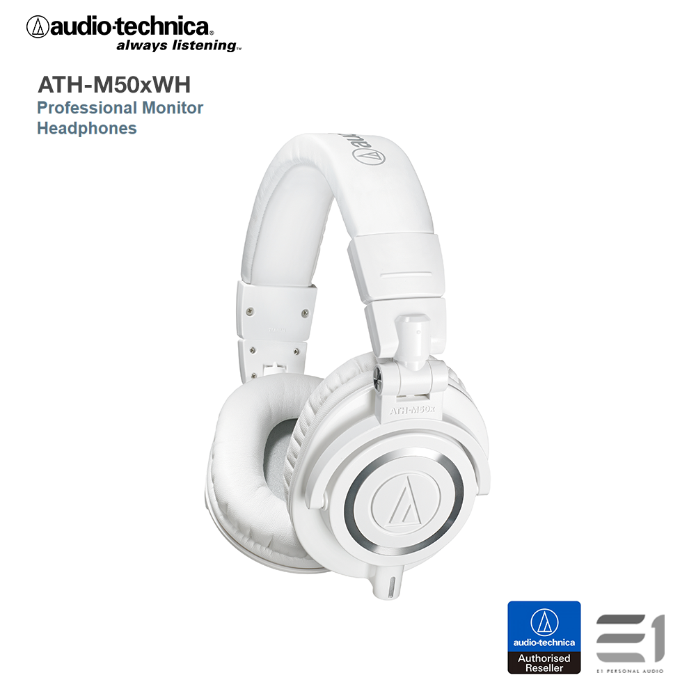 Audio-Technica, Audio-Technica ATH-M50xWH Over-Ear Headphones (White) - E1 Personal Audio Singapore