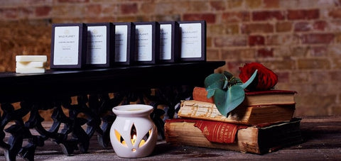 Boxes of Natural Wax Melts and white oil burner on table with books