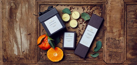 Soft Embers Home Fragrance Collection including Luxury Scented Candle, Scented Tea Lights, Wax Melts
